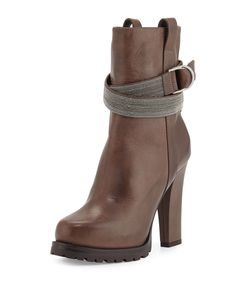 Brunello Cucinelli Monili-Trim Ankle Boot, Gray, Women's, Size: 37, Grey