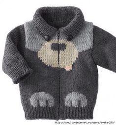 Mis Pasatiempos Amo el Crochet: Esquema de oso para saco de niño en dos agujas