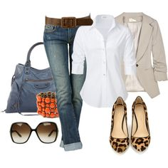 Camel blazer white shirt jeans animal print flats: perfect fall wear.