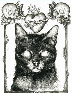 Necro cat by Helbones
