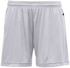 """badger b-core girls 4"""" performance shorts - silver (s)"""