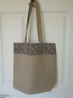 """Linen Tote with Liberty Fabric panel (Tana Lawn """"Chives"""")"""
