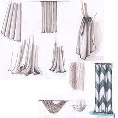Interior Design Renderings, Interior Sketch, Classic Curtains, Sketch Markers, Curtain Designs, Curtains With Blinds, Sketch Design, Art Sketches, Room Decor