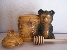 1960s Vintage Honey Pot with Cub Bear Honey Jar and Bees