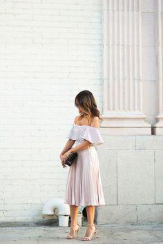 Off the shoulder, elegant, lace dress, effortless wedding guest attire.