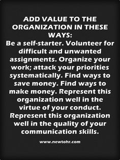 Teamwork Tips: Add value to organisations in these ways...  www.newtohr.com