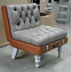 Beautiful Retro Modern Chairs Made With Old Suitcases Recycling - Beautiful retro modern chairs made old suitcases