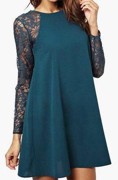 Lace Swing Shift Shirt Dress