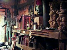Coming in the back way led to this room not available to those who line up at the front entrance to the Indiana Jones ride. We even fou. Costume Indiana Jones, Indiana Jones Room, Craft Room Decor, Old Bricks, Tiki Room, Forest House, Old Bottles, Escape Room, Room Themes