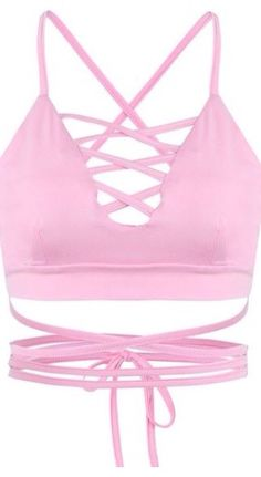 9a33c0ba10513 Shop Pink Lattice Strappy Back Cross Crop Top from choies.com .Free ...