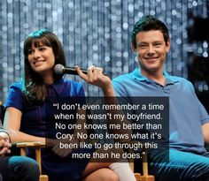 In her January 2013 Marie Claire interview, Michele says the following about her relationship with Cory: | A Timeline Of Cory Monteith And Lea Michele's Relationship