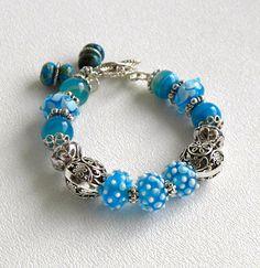 Naomi Handmade Beaded Bracelet Lampwork Glass Blue Line Agate Silver Bead.