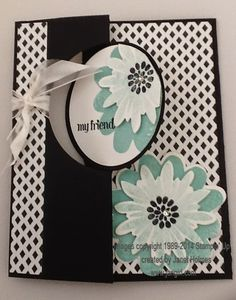 Stampin' Up Circle Card Thinlits Flower Patch Back In Black card