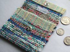 Blue & Red Wallet Change Pouch Coin Purse Small Bag Handwoven Recycled Cotton Rag Cash Money Purse Key Pouch ID Purse Pin Weaving, Weaving Art, Loom Weaving, Tapestry Weaving, Basket Weaving, Weaving Textiles, Weaving Patterns, Small Gift Bags, Small Gifts