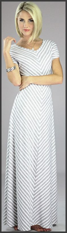 Gray Chevron Maxi Dress