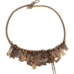 Pal Kepenyes Signed Brass Milagros Necklace, Mid Century Brutalist Jewelry, Brass Sculpture