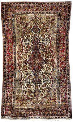Kashan Rugs: Silk Kashan Mohtasham Rug C. 1900 Lot 15