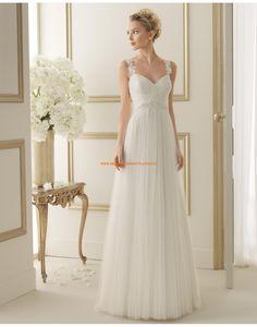 Schlichte A-linie Herz-Ausschnitt Brautkleider aus Softnetz 122 ELITE | luna novias 2014