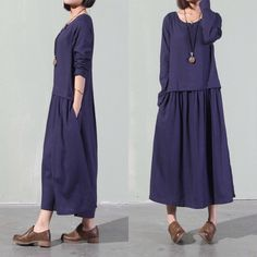 Loose Fitting Long Maxi Skirt - Summer Dress, Loose Fitting Dress ,Cotton Linen Simple Dress Plus Size,Plus Size Linen Clothing,Long Sleeve by guidacloting on Etsy https://www.etsy.com/listing/237090102/loose-fitting-long-maxi-skirt-summer