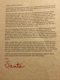 Letter from Santa introducing Elf on the Shelf. Reminds kids of ...