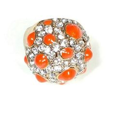 Dome Ring Rhinestone, Orange, and Gold tone Designer Signed Vintage Statement Ring Size 6 Great Gift for Her