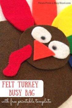 This felt turkey busy bag is the perfect way to keep the kiddos busy on Thanksgiving and during the Fall. Keep this in your purse and use it when you are out and about! Thanksgiving Crafts For Toddlers, Crafts For Kids To Make, Fall Crafts, Thanksgiving Ideas, Preschool Learning Activities, Autumn Activities, Preschool Themes, Toddler Activities, Toddler Fun