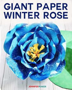 Giant Paper Winter Rose is perfect for winter wedding decor! Paper Flowers Craft, Paper Flower Backdrop, Giant Paper Flowers, Flower Crafts, Wall Flowers, Diy Flowers, Fabric Flowers, How To Make Diy, How To Make Paper