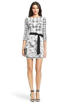 DVF Kennie Knit Lace Wrap Dress in in Black/ White