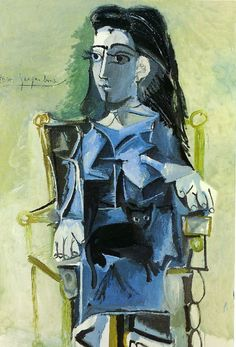 Jacqueline sitting with her cat, 1964, Pablo Picasso