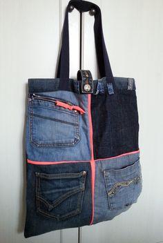 jeansowa torba z kieszniami