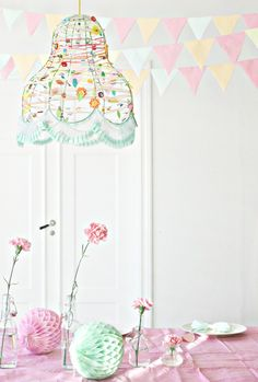 Love this pretty little lamp shade. It probably wouldn't be too difficult to wire wrap colorful beads on an old lamp shade frame then add some trim on the bottom.