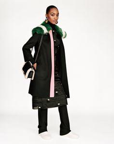 Jourdan Dunn wears a Fendi PreFall15 coat and dress in W Magazine