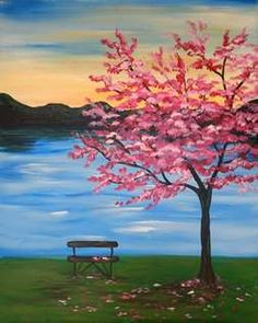 View Paint and Sip Artwork – Pinot's Palette – Malerei Canvas Painting Tutorials, Easy Canvas Painting, Simple Acrylic Paintings, Lake Painting, Spring Painting, Spring Drawing, Sunrise Painting, Easy Landscape Paintings, Easy Nature Paintings