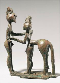 Greek Geometric period statue of a hero and a centaur, from Olympia, c 750 BC. This could be Chiron with a pupil hero, as his fore-body has human legs and feet, but this is a very early image and the more human depiction of Chiron, compared with the untamed centaur type