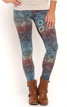 Deb Shops Kaleidoscope Print Leggings $10.00