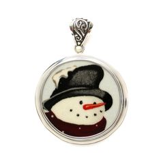 Broken China Jewelry Winter Snowman w Hat & Scarf Sterling Circle Pendant