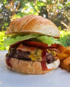 Double Bacon Cheddar Smokehouse Burger {3 $50 Visa Gift Cards Giveaway} | Plain Chicken