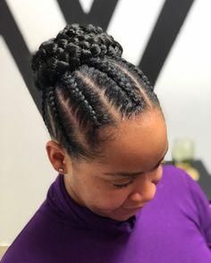 Cornrows With Braided Bun Updo # twist Braids bun 60 Inspiring Examples of Goddess Braids Cornrows Braids For Black Women, Braided Hairstyles For Black Women, Girls Braids, Braids Cornrows, Black Braids, Cornrows With Bun, Box Braids Bun, Side Braids, Box Braids Hairstyles