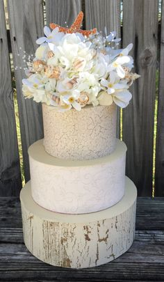 Beach Wedding Cake Topper, Sea Shell Cake Topper by LCFloral on Etsy
