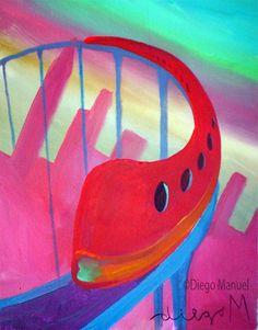 tren rojo, acrylic on canvas, 28 x 22 cm., year 2007. Venta de pinturas sobre trenes. Paintings of trains for sale. venda de pinturas de trens.
