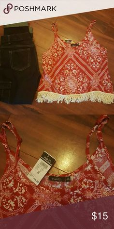 Spaghetti strap boho top Adorbs! red and white boho top! NWT Rue 21 Tops Crop Tops