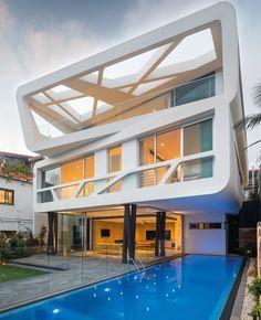 Hewlett Street House par MPR Design Group - Bronte, plage des environs de Sydney, Australie. - Maison contemporaine à l'architecture et l'intérieur ultra-design et sa vue sur l'océan