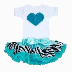 Pink Baby Boutique - Baby Girl Zebra Turquoise Tutu Love Set, $58.00 (http://www.pinkbabyboutique.com/baby-girl-zebra-turquoise-tutu-love-set/)