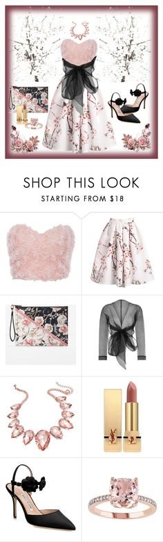 """Blossom"" by ashleafashion ❤ liked on Polyvore featuring White House Black Market, Bianca Elgar, Thalia Sodi, Yves Saint Laurent and Manolo Blahnik"