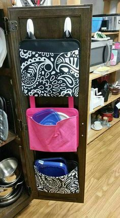 Kitchen Hack! Hang Thirty One's Oh snap pockets in the cabinet to catch stray Tupperware lids! www.mythirtyone.com/callymitchell