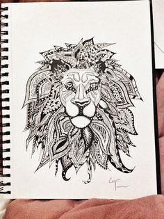 Lion Zentangle Design by TelferZentangle on Etsy