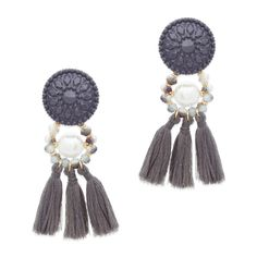 Make a statement and then some with this bold and on-trend pair. Understated tones are the perfect marriage with Louise's multimedia style. Though brimming with the striking details of pearls, beads, and textured enamel, Louise's grey fringe is the star, here! Sensible Statements