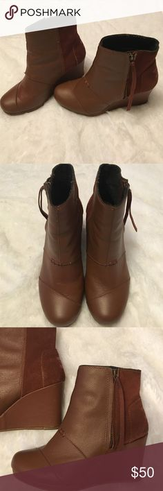 Toms Wedge Boots🎉💥🎉 GREAT Condition...Super Cute....Super Comfy Wedge Boot!! These can been worn casual or dressy!! ❤️️🙌🏼🤗🎉 TOMS Shoes Ankle Boots & Booties