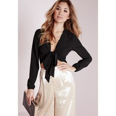 Missguided Tie Front Cropped Blouse ($26) ❤ liked on Polyvore featuring tops, blouses, black, long tops, sexy crop top, crop blouse, sexy blouses and plunge crop top