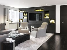 Pied a terre interior design at London #livingroomideas #luxuryhomes #interiordesign modern design, living room design ideas, ambient lighting. See more at www.luxxu.net